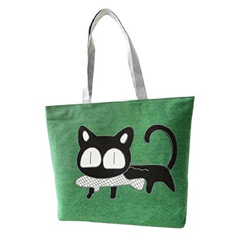SODIAL Bolsa de dibujos animados de forma linda Bolsa de mujer Bolso de homobro de lona del gato (verde)