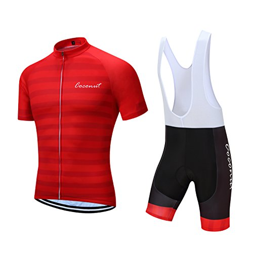 (Men's Short Sleeves Cycling Jersey Set Bike Jersey Suit Cycling Shirt Bib Shorts with 3D Gel Padded (Red, M))
