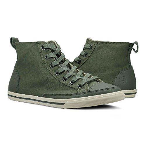 Burnetie Men's Olive Solid Plaid High Top Vintage sneaker 30