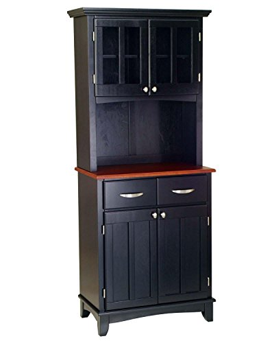 Black-Server-With-Medium-Cherry-Wood-Top-And-Two-Door-Hutch
