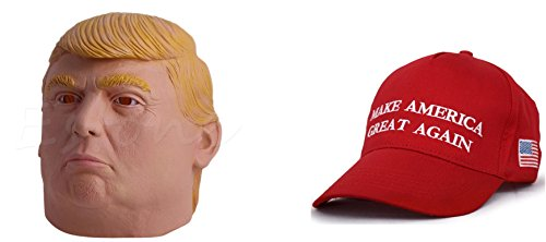 Realistic Political Halloween One Size President Donald Trump Mask with Free Make America Great Again Hat