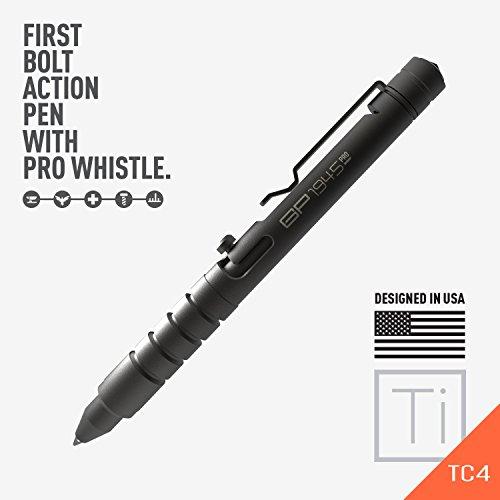 (GP 1945 Bolt Action Plus Pen - Machined Titanium, Multi-Tone Whistle, Glass Breaker Integrated. USA.)