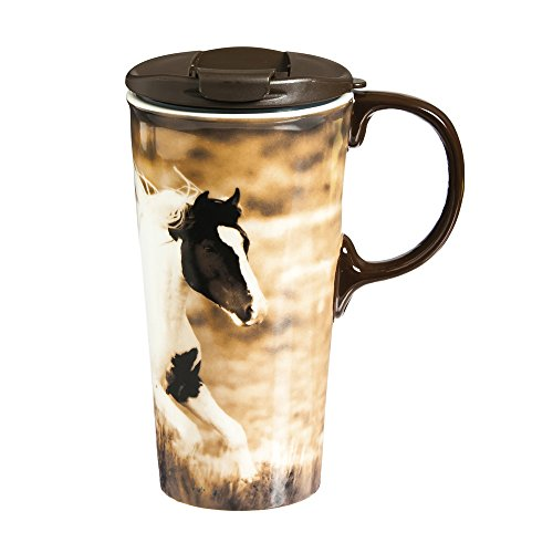 Realistic Horse 17 OZ Ceramic Perfect Cup - 4 x 5 x 7 Inches - Horse Travel Mugs