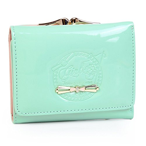 Damara Womens Small Pouch Purse Patent Leather Bow Wallet,Light Green
