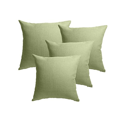 (MRNIU 4PCS Throw Pillow Covers Coastal Cushions Fine Faux Linen Home Decorative Soft Pillow Case Covers No Pillow Insert Pillowcases Outdoor Indoor Home Decor (18 x 18 inch, (4PCS) Spinach Green))