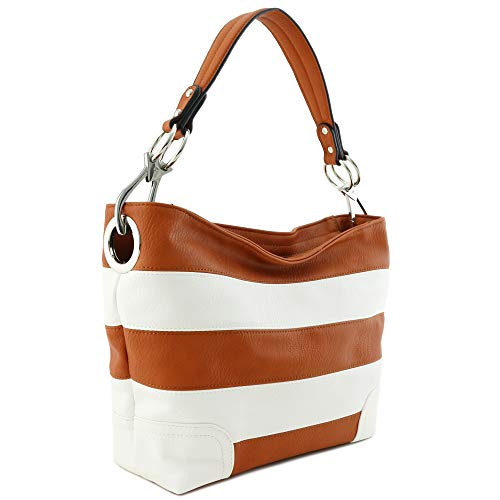 Hobo Shoulder Bag with Big Snap Hook Hardware (Burnt Orange/White)