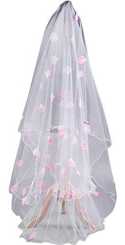 構築する通行料金ポルノウエディングベール 結婚式 ブライダル 二次会 花嫁 ヴェール 教会 人前式 セレモニー 海外 挙式 ショートベール ウエディングドレス小物 (ホワイト, すべて)