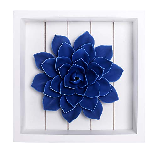 Bico Handcrafted Porcelain Matte Blue Lotus with Wooden Frame Wall Decoration, 3D Wall Art, House Warming, Anniversary, Wedding, Birthday Gift, for Dining Room, Bedroom, Living Room Wall