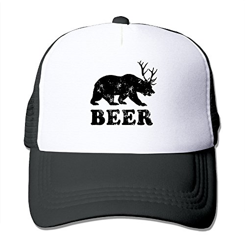 Beer Bear Deer Funny Fashion Baseball Caps Beer Black Cap