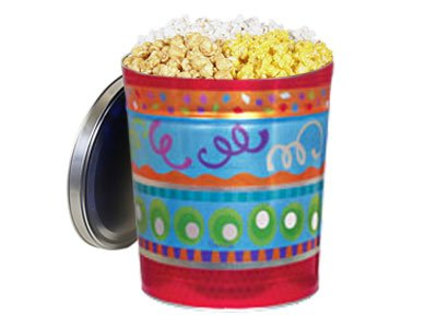 Gourmet Popcorn Gift Tin - Fiesta, Original Gourmet White - Holiday Gift Tin