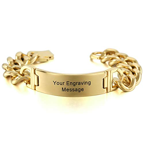 (MeMeDIY Gold Tone Stainless Steel Bracelet Curb Chain Link - Customized Engraving)