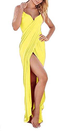 Damen Swimwear Beachwear Strandkleid Trägertop Rückenfrei Trägerlos Irregular V-Ausschnitt Geöffnete Gabel Candy Colors Maxi 2017 Die Neue Gelb 5S5jpi