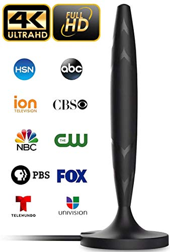 [Newest 2020] Amplified 4K Full HD Digital Indoor Smart TV Antenna - 60 120 Miles Range Support 4K 1080p and Older TV's Powerful HDTV Best Amplifier Signal Booster - 9.8ft Coax Cable/USB Power Adapter