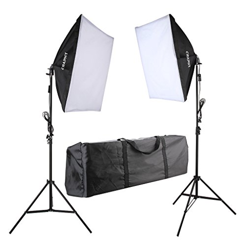 CRAPHY 700W 5500K Photography Studio Soft Box Lighting Kit Continuous Light Equipment for Portrait Video Shooting (20x28