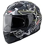 Ls2 320 Full Face Dual Helmet Outer Clear Visor inner tinted Googles (L - 57 - 59 Cms, Grey with White)
