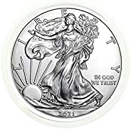2021 American Silver Eagle .999 Fine Silver in Direct Fit Air Tite with our Certificate of Authenticity Dollar