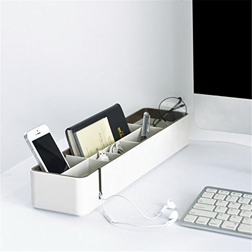 Chris.W Desktop Sundry Storage Box Holder With Removable Divider, 1 Cable Management Slot, Office/Home/Dorm Tray for Phone/Pencil/Business Cards/Cosmetics/Glasses and More(Coffee)
