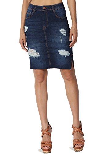 TheMogan Junior's Raw Slit Hem High Waist Distressed Denim Pencil Skirt Dark M