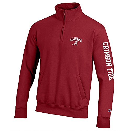 Alabama Crimson Tide Quarter Zip Sweatshirt Letterman - (Alabama Quarter Roll)