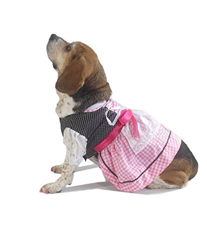 EINSZWEIDOG Oktoberfest German Dirndl Dog Dress Costume, Rosa -