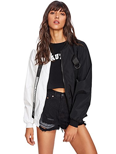 SweatyRocks Women's Casual Lightweight Color Block Bomber Jacket Black White