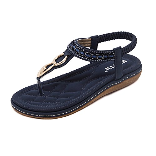 DolphinGirl Bohemian Summer Vacation Flat Thong Sandals, Navy Blue Open Toe Glitter Rhinestone Shiny Golden Metal Shoes for Dressy Casual Jeans Daily Wear and Beach (Fancy Shoes For Women)