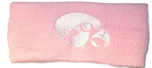 Bama NCAA Licensed Iowa Hawkeyes Pink Logo Knit Sweatband Headband -