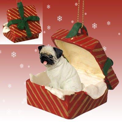 Pug Christmas Ornament - Pug Red Gift Box Christmas Ornament