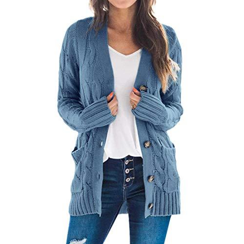 Vertvie Damen Strickcardigan Offene Cover Up Strickmantel Strickpullover Langarm Strickjacke Sweater Outwear Casual Cardigan mit Taschen