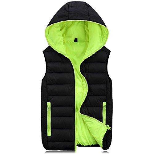 À Manteau Vestes Manches Decontracte Gilet Vert Blouson Bodywarmer Doudoune Sans Hiver Chaud Garçon Capuche Kindoyo Homme Noir Manteaux Jacket qxv7II