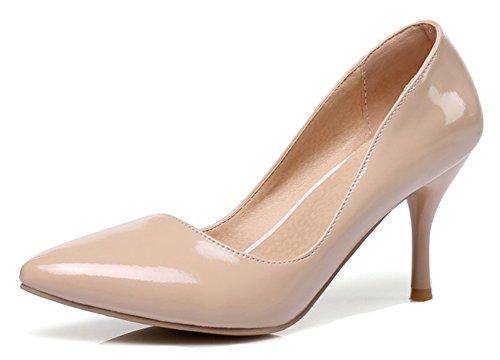Aisun Donna Semplice Brunito Dressy Taglio Basso Stiletto Punta A Punta Tacco Alto Da Indossare Slip On Pumps Shoes Nude