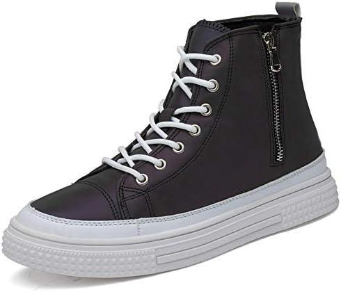 男性プラットフォームスケートスニーカーレースアップマイクロファイバーレザーサイドジッパー衝突回避の足の色を変えるノンスリップのためのアスレチックシューズ YueB HAC (Color : ブラック, サイズ : 26.5 CM)