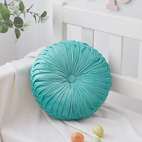 Cassiel Home 14.5 Pintuck Round Throw Pillow – Handcrafted Pumpkin Velvet Floor Pillow – Gold Throw Pillows Cushion for Chair Couch Solid Light Teal