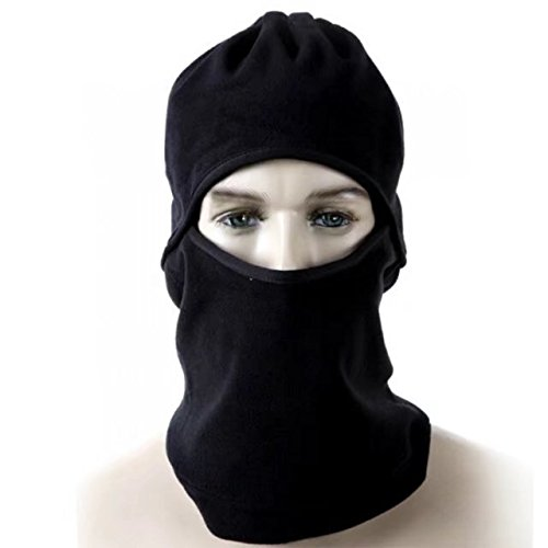 Vrcoco Outdoor Black Balaclava Full Face Mask Winter Fleece Warmer Wind Proof Fit Helmet Hat Neck Warmer Face Mask Balaclava Hat for Adults Women and - Armour Under Sunglasses Parts