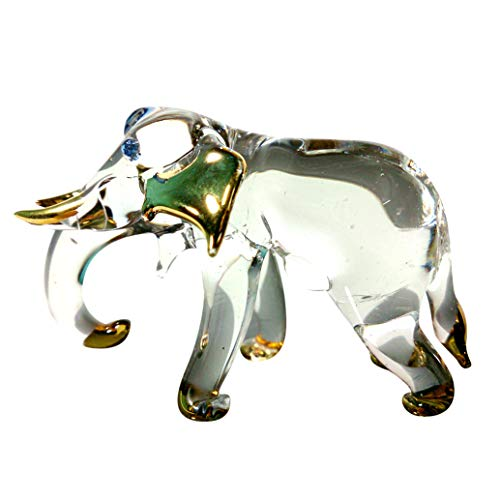 Sansukjai Elephant Figurines Animals Hand Blown Glass Art Gold Trim Collectible Gift Decorate#2 - Lucky Elephant Art Glass Figurine