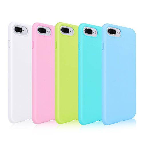 (Pofesun Sleek Silicone Gel Rubber Case Protective TPU Back Cover Compatible for 5.5 inches iPhone 7 Plus 2016 / iPhone 8 Plus 2017-5 Pack (White, Pink, Blue, Green, Mint))
