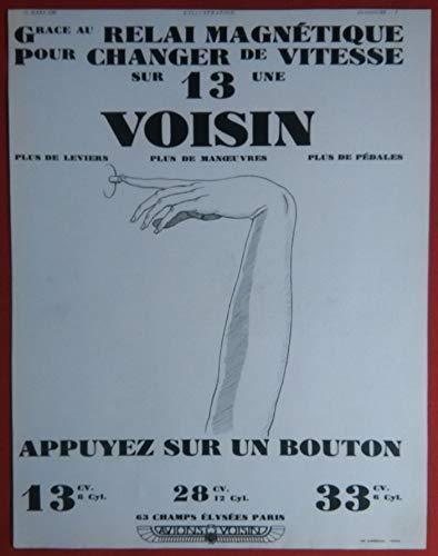 1930 VOISIN 13 CV RELAI MAGNETIQUE pour CHANGER de VITESSE * Appuyez sur un Bouton * LARGE VINTAGE NON-COLOR AD - FRENCH