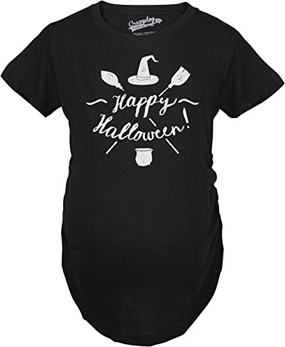 Crazy Dog TShirts - Maternity Happy Halloween Witch Hat and Brooms Pregnancy Announcement T shirt (Black) - Femme