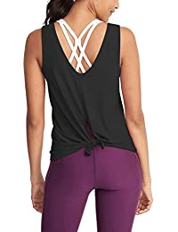 Women's Sexy Yoga Tops Workout Clothes Athletic Tank Tops Open Tie Back Shirts