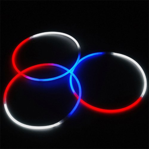 24'' Glowsticks Glow Stick Necklaces Tri-Color RED WHITE and BLUE (200 necklaces) by Lumistick (Image #1)