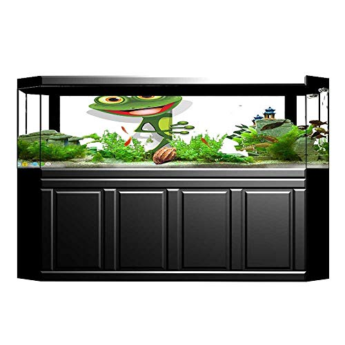 Fish Tank Decorations Collection Jolly Frog with Greater Eye Lizard Gecko Smily Childish Funny Cartoon Artwork PVC Paper Cling Decals Sticker 35.4