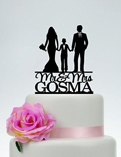 KISKISTONITE Cake Decorating Supplies, Family Cake Topper,Bride and Groom with little boy Cake Topper,Couple with child, Wedding Couple with Son, Custom Cake Topper,Party Favors