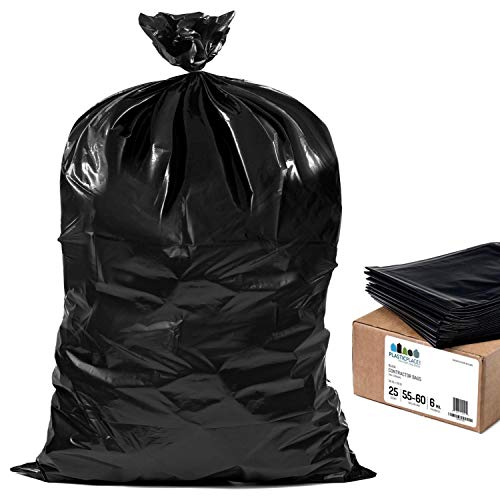 Plasticplace Contractor Trash Bags 55-60 Gallon │ 6.0 Mil │ Black Heavy Duty Garbage Bag │ 36 x 58 (25 Count)