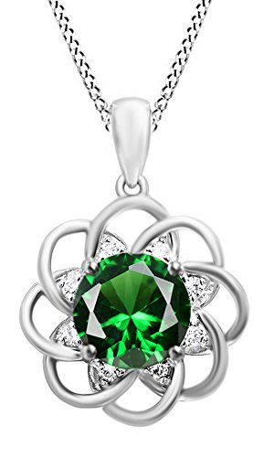(Jewel Zone US 4.5 Ct Simulated Green Emerald, Cubic Zirconia Cluster Pendant Necklace 14k White Gold Over Sterling Silver)