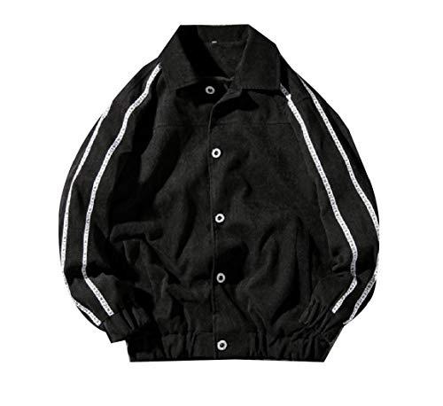 Turn Down Black Jacket Buckle Collar AngelSpace Fitness Top Men Corduroy Autumn UqwAP1