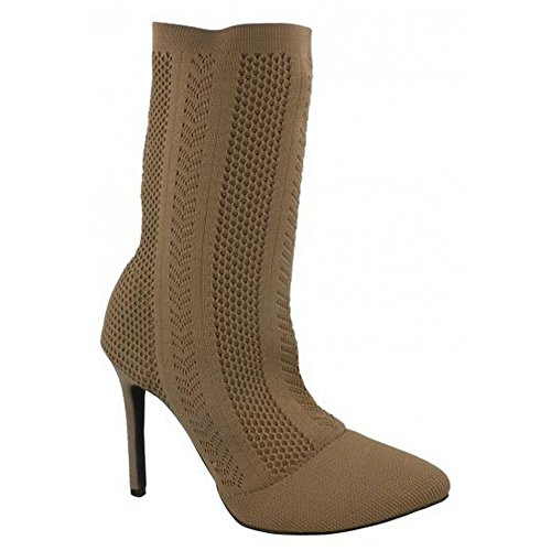 Anne Boots Calf Knitted Ladies Taupe Heel High Womens Michelle ZwY0fZr