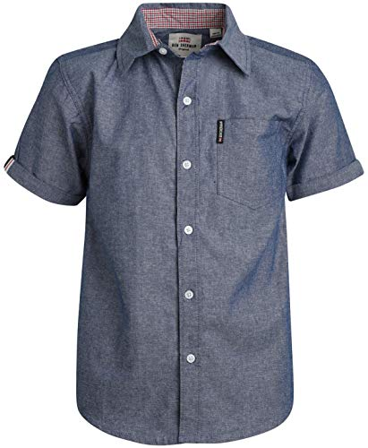 Ben Sherman Boys Short Sleeve Button Down Shirt (Blue Denim, 14/16)'