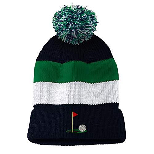 Custom Vintage Pom Pom Beanie Golf Ball on Green Embroidery Acrylic Skull Cap Hat for Men & Women Navy Stripes Design Only