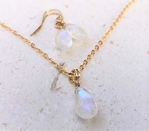 Rainbow Moonstone Earring and Necklace Gemstone Set 14K GF - Jewelry Gift For -