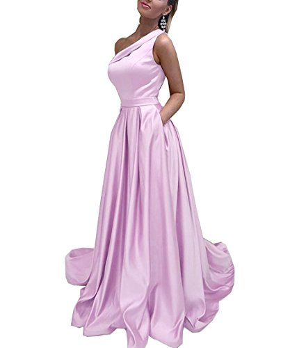 Dresses Long One Prom Dresses Prom Pink Shoulder Satin Party CCBubble 2018 H8OaqH